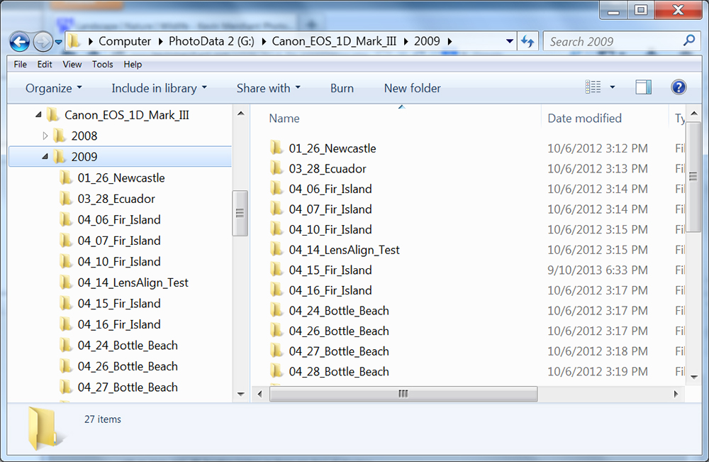 Camera, Year & Month/Day/Location folders in Windows Explorer