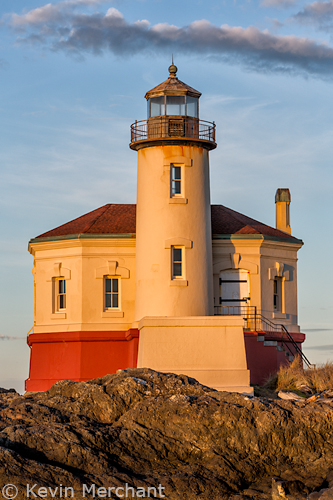 Coquille River Lighthouse at dawn, Bandon, Oregon